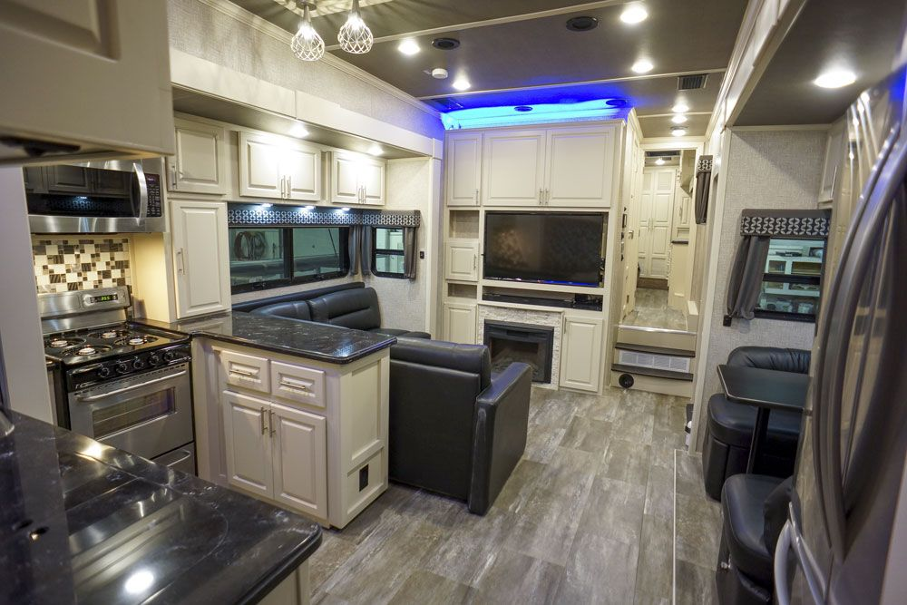 Luxury toy hauler living room