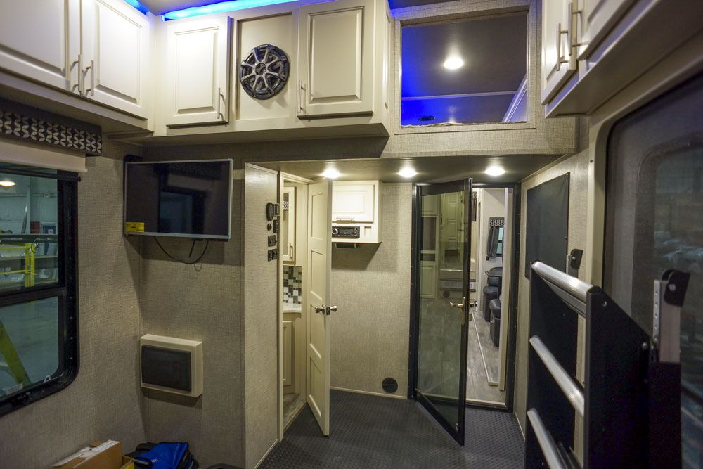 Luxury toy hauler garage loft