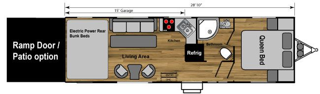 28W weekend warrior toy hauler trailer floorplan